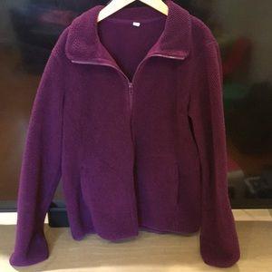 Uniqlo teddy fleece purple Jacket